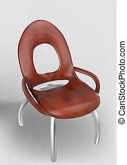 bois, courbé, jambes chaise