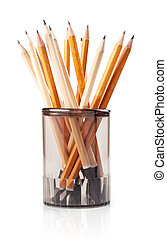 bois, crayons, blanc, isolé, verre