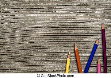 bois, crayons, bureau scolaire