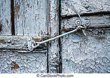 bois, crochet, vieux, porte, fer