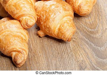 bois, croissants, fond, copyspace