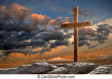 bois, croix, à, coucher soleil