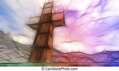 bois, croix, dans, eau