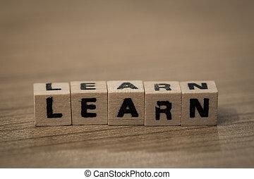 bois, cubes, apprendre