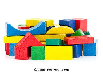 bois, cubes, coloré