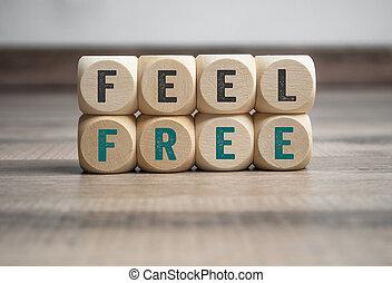 bois, cubes, dés, sentir, gratuite, fond, message