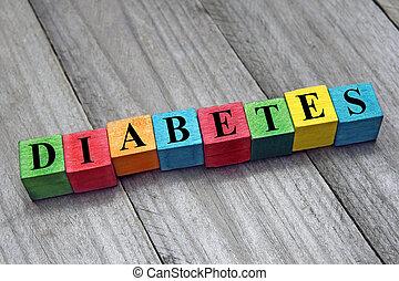 bois, cubes, mot, coloré, diabète