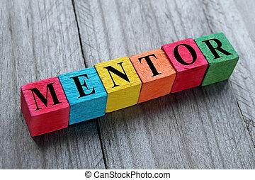 bois, cubes, mot, mentor, coloré