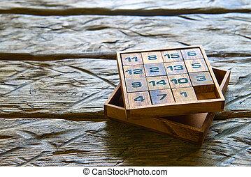 bois, cubes, nombres