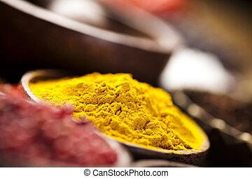 bois, curry, bol, épice
