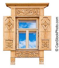 bois, décoré, fenêtre
