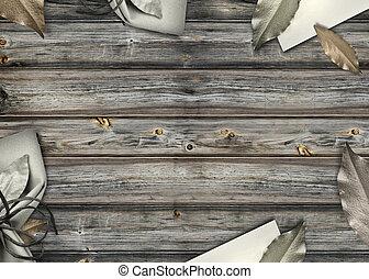 bois, décoré, fond