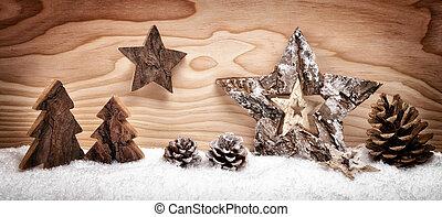 bois, décoration, arrangement, noël