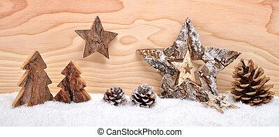 bois, décoration, noël, arrangement