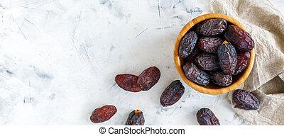 bois, dates, bowl., délicieux