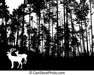 bois, deers, épais, vecteur, silhouette