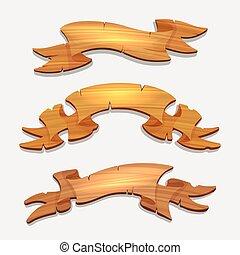 bois, dessin animé, bois, signes, rubans, ou