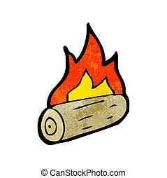 bois, dessin animé, brûlé, journaux bord