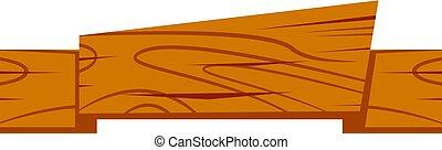 bois, dessin animé, ruban