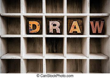 bois, dessiner, concept, type, letterpress