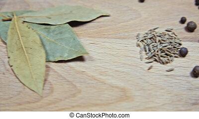 bois, différent, épices, planche