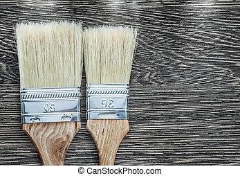 bois, directement, pinceaux, planche, au-dessus