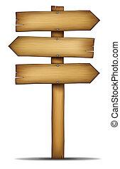 bois, directions, flèche, signes