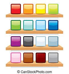 bois, display., étagère, vecteur, conception, gabarit, icône