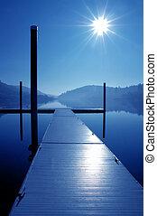 bois, dock, reflet