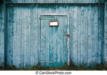 bois, door., vieux, grange