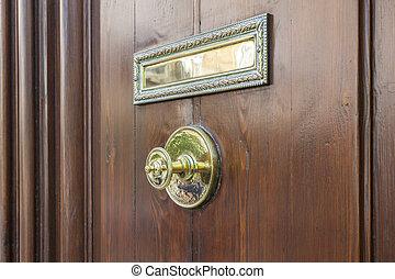 bois, doré, entrée, poignée, porte