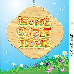 bois, doux, cadre, ciel, arrière-plan., mots, maison, maison