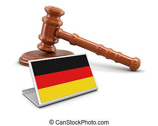 bois, drapeau allemand, 3d, maillet