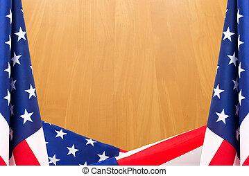 bois, drapeau, frontière, fond, nous