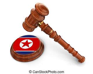bois, drapeau, north.korean, maillet