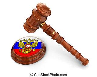 bois, drapeau russe, maillet