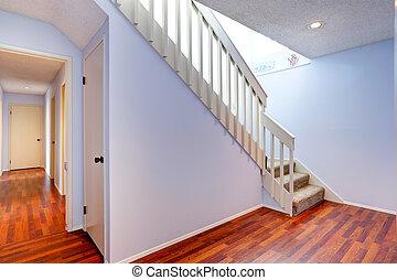 bois dur, couloir, escalier, vide, plancher
