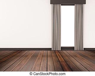 bois dur, mur, blanc, plancher