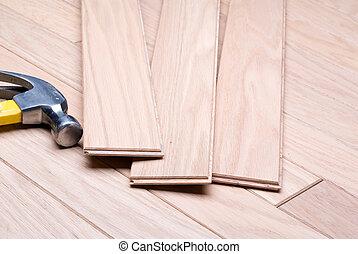 bois dur, nouveau, installation, plancher