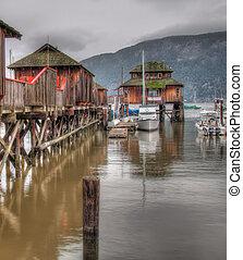 bois, eau, bâtiments, marina, sur
