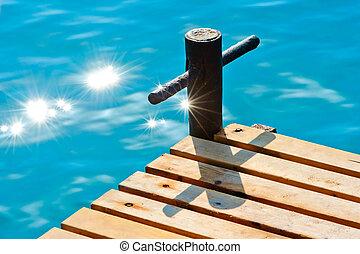 bois, eau, rayons soleil, jetée, mer