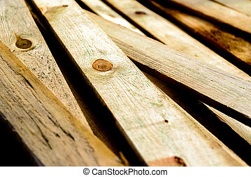 bois, empilé, barrière piquet, unpainted, bois
