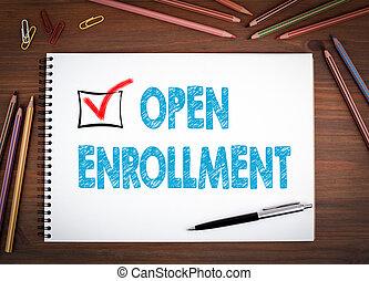 bois, enrollment., ouvert, stylo coloré, table, crayons, ...