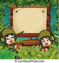 bois, enseigne, deux, jungle, soldats, fusils
