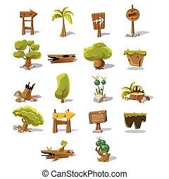 bois, ensemble, game., flèches, illustration, vecteur