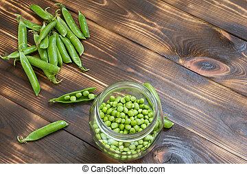 bois, entier, pot, pois, sombre, verre, vert, frais, table, boîtiers