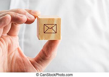 bois, enveloppe, possession main, bloc, icône