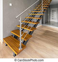 bois, escalier, argent, balustrade