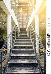 bois, escalier, bureau