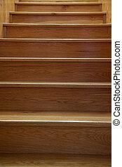 bois, escalier, closeup